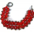 """Hand Made Red Crystal  """"CrissCross"""" Beaded Bracelet (B05743)"""