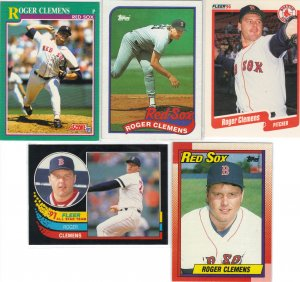 (5) Roger Clemens Boston Red Soxs Cards