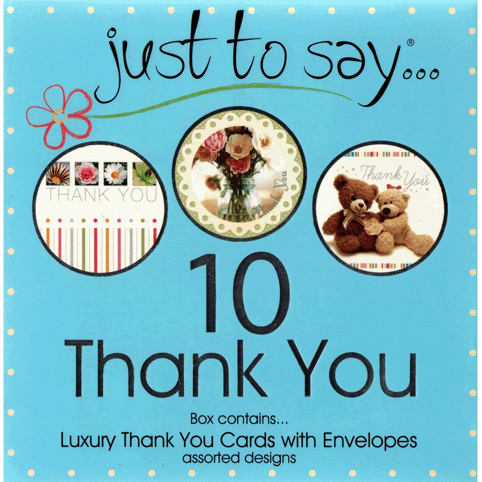 Just To Say Thank You - Boxed Set of 10 Assorted Notecards and Envelopes