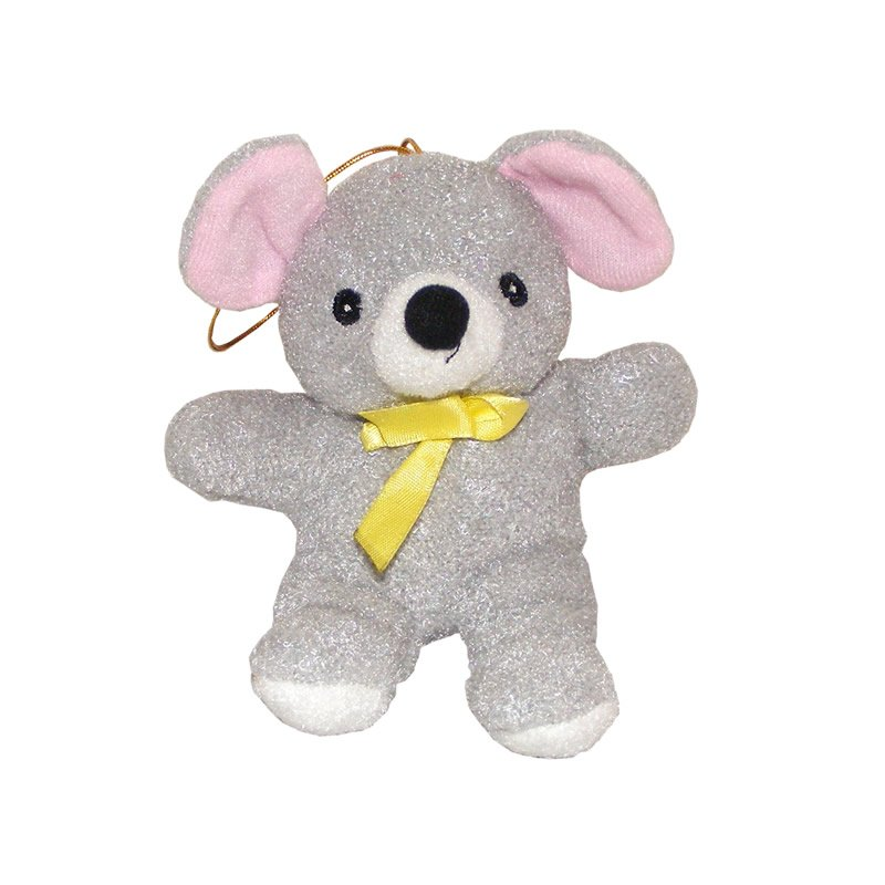 Grey Teddy Bear with Pink Ears and Yellow Bow - Soft Toy
