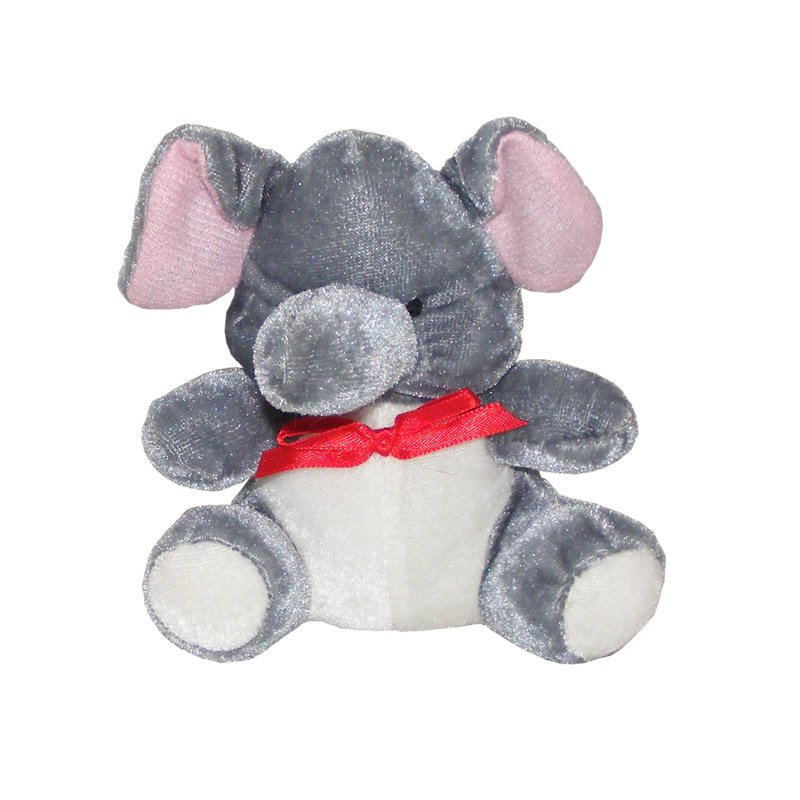 Grey Elephant with a Red Bow - Soft Toy