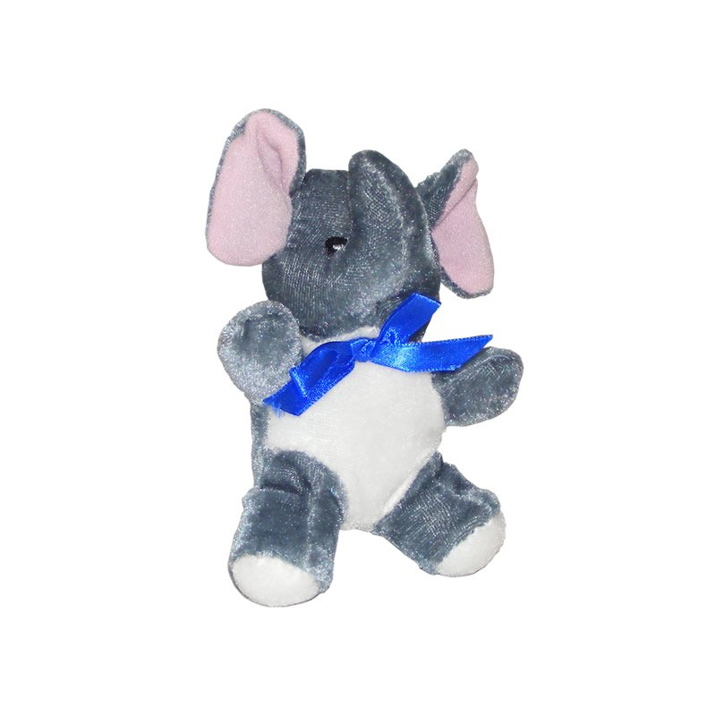 Grey and White Elephant with a Blue Bow - Soft Toy