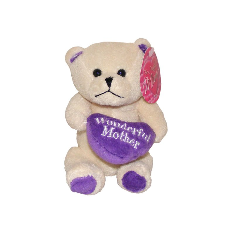 Cream Teddy Bear Holding a Cushion with the Words A Wonderful Mother - Soft Toy