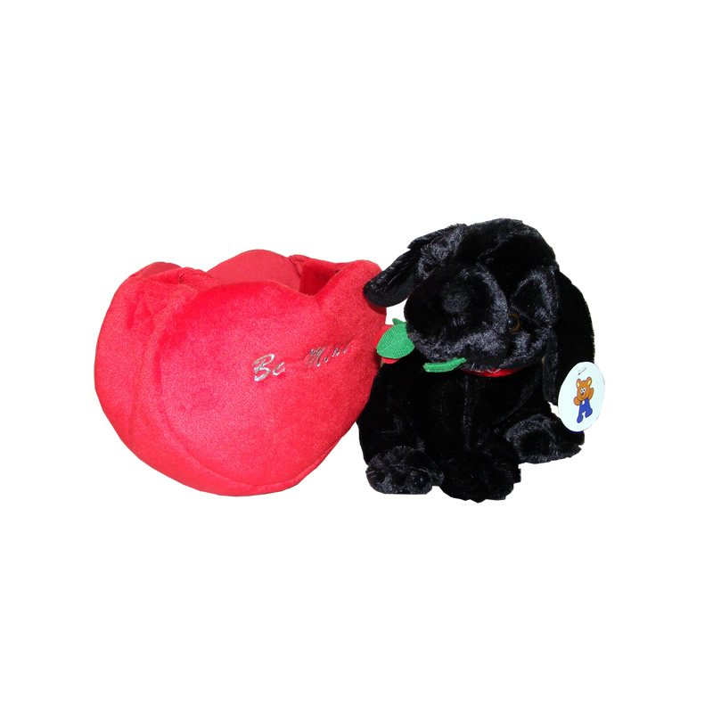 Black Labrador Puppy in a Bag Embroidered with Be Mine - Soft Toy