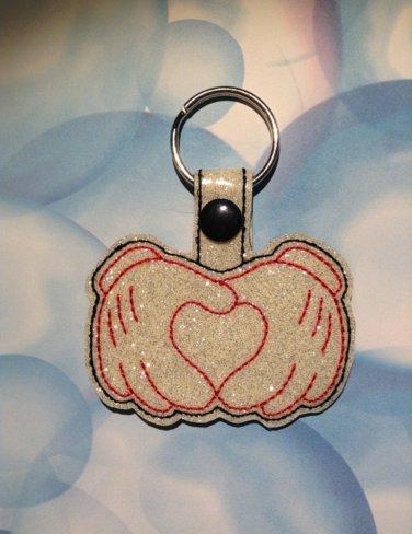 Mouse Gloves with Heart Glitter Vinyl Key Ring
