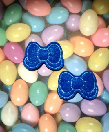 Pair of Blue Felt Bow with Tail Snap Clips