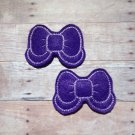 Pair of Purple Felt Bow with Tail Snap Clips