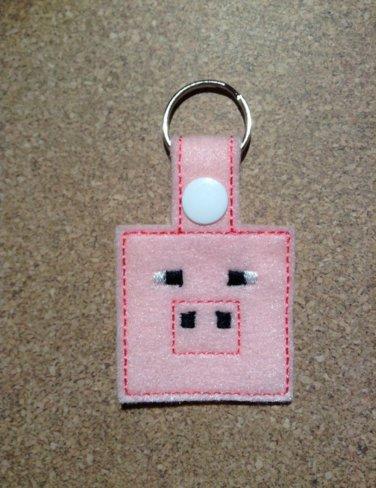 MC Pink Pig Felt Key Ring