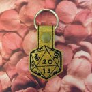 Gold Glitter 20 Sided Die Vinyl Key Ring
