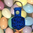 Blue 20 Sided Die Felt Key Ring