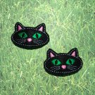 Pair of Black Cat Face Felt Snap Clips
