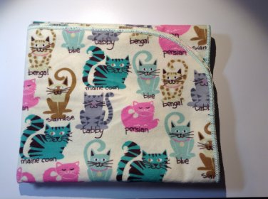 Flannel Baby Blanket - Yellow with Cats