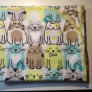 Flannel Baby Blanket - Blue, Brown, Greens with Cats