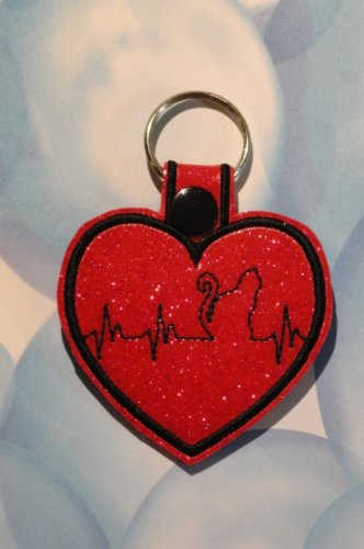 Red Heart with Cat Heartbeat Vinyl and Felt Key Ring