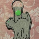 Gray Scary Cat Felt and Fabric Key Ring