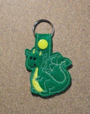 Green Dragon Felt Key Ring