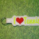 I Love Tennis Vinyl Key Ring