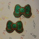 Pair of Green Glitter Vinyl and Felt Bow with Tail Snap Clips