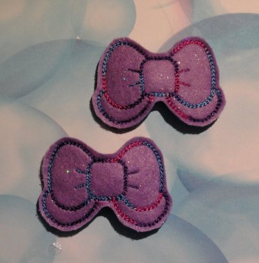Pair of Purple Sparkle Felt Bow with Tail Snap Clips