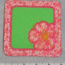 Pink and Green Square Poppy Flower Coaster / Mug Rug