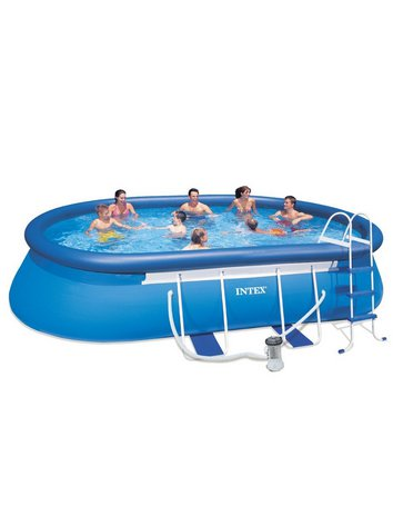 Intex Above Ground 18ft X 10ft X 42in Oval Frame Swimming Pool Set summer fun
