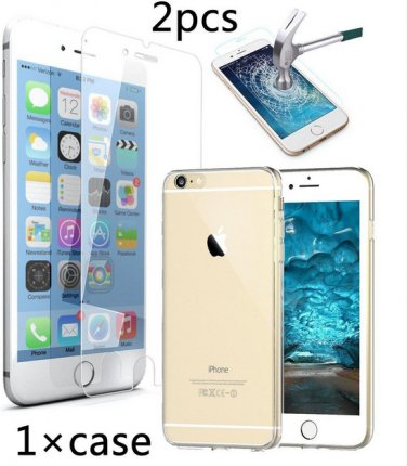 Iphone 6 6s Case Cover + 2pcs Tempered Glass Screen Protectorfor Iphone 6 6s 4.7