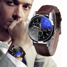 Men Fashion Designer Luxury Faux Leather Blue Ray Glass Quartz Analog Watches Brown