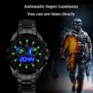 Men's military Blue Binary LED Pointer Watch Men's Waterproof sports Stainless Steel Black