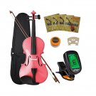 Crescent 4/4 Pink Maple Wood Acoustic Violin with Case, Rosin, and Bow