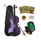 Crescent 4/4 Size Student Violin Starter Kit, Purple Color