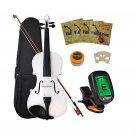 Crescent 4/4 Full Size Student Violin Starter Kit, White Color