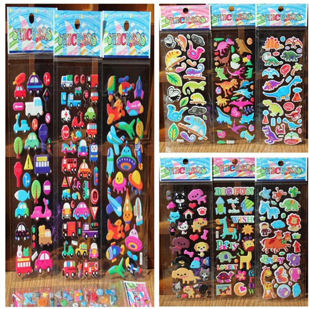 10pcs/Lot Bubble Stickers 3D Cartoon KIds ClassicToys Sticker School Reward AT