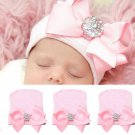 Newborn Pink for Baby Infant Girl Bowknot Diomand Hospital Cap Beanie Hat ATBD