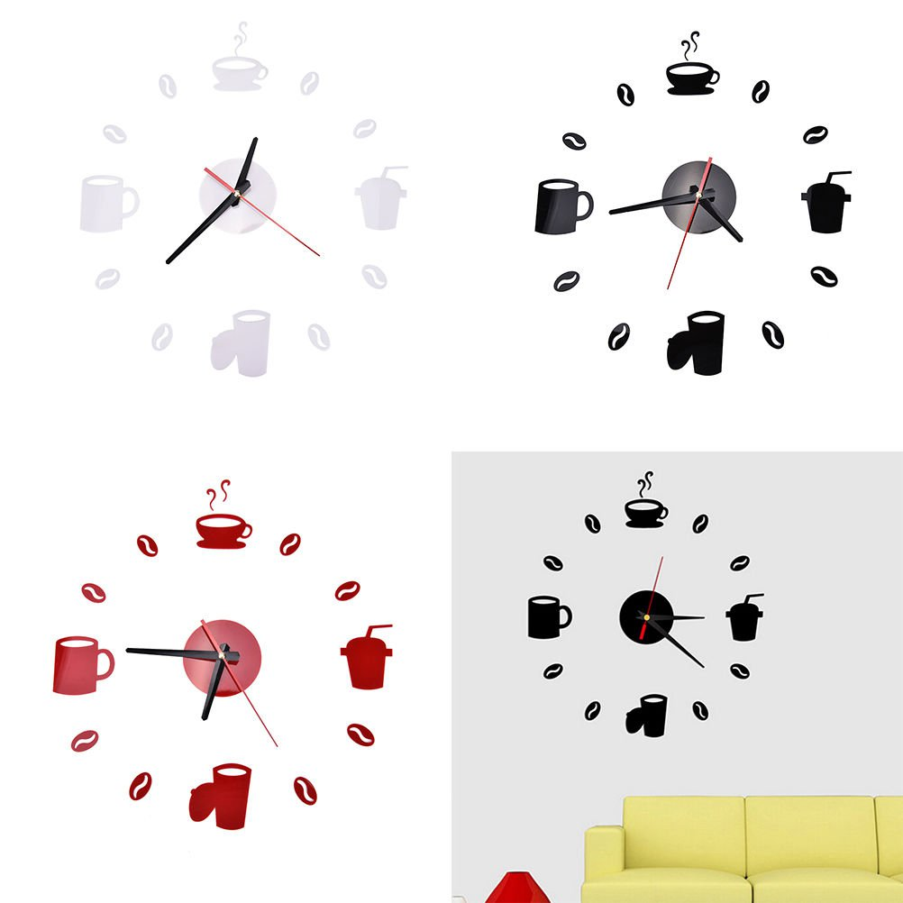 3D Wall Clock DIY Modern Mirror Watch Surface Sticker Home Room Decor Dñt AT