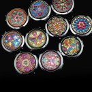 Crystal Folding Round Pocket Compact Makeup Cosmetic Mirror Portable Useful AT