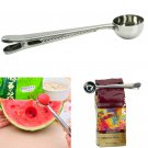 1Pc Stainless Steel Ground Coffee Measuring Scoop Spoon With Bag Seal Clip  ATUJ