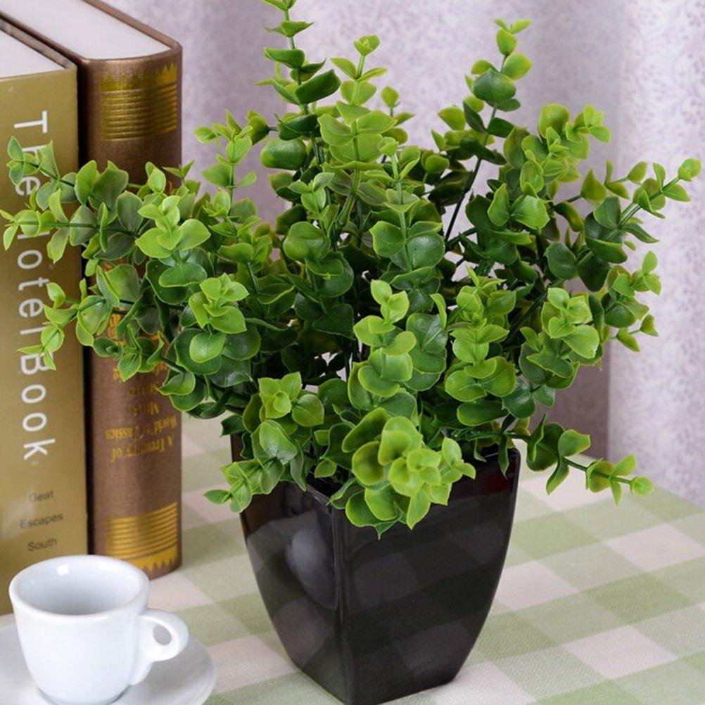 7-Branches Artificial Fake Plastic Silk Eucalyptus Plant Flowers Home DecorATUJ