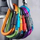 5Pcs Aluminum Carabiner D-Ring Clip Hook Camping Keychain Screw Locking  NewATBD