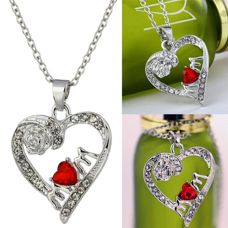 Charm Mother's Day Gift for Mom Friend Red Crystal Heart Necklace Pendant ATUJ
