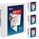 """Heavy-Duty View Binder with 3"""" One Touch EZD Rings , White,4 Count (79793) New"""