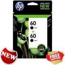 HP 60 Black Original Ink Cartridges 2 pack Home School Office Printing supplies