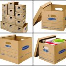 12 Small Med Bankers Box Smooth Move Classic Moving Boxes Kit Tape-Free Assembly