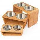 Double Bowl Raised Stand Comes with Extra Two Stainless Steel Bowls Elevated Dog