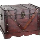 Old Style Chest Wooden Treasure Box Home Decor Storage Display Accent Furniture