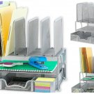 Mesh Desk Organizer w/ Sliding Drawer Double Tray & 5 Upright Sections, Silver