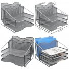 EasyPAG Mesh Desk File Organizer Sorter with 3 Horizontal and 2 Upright Silver