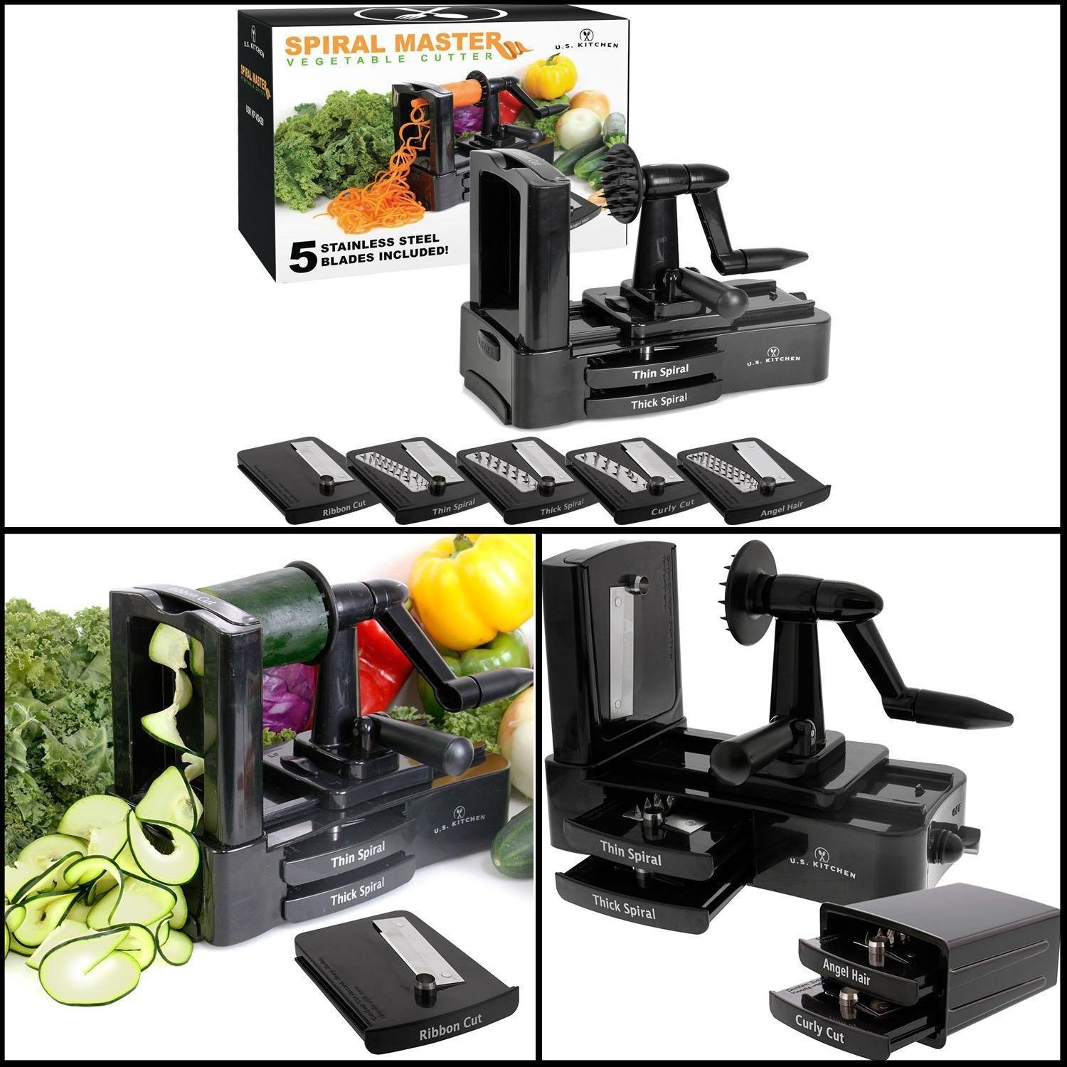 U.S. Kitchen Supply Spiral Master Vegetable Cutter with 5 Versatile...