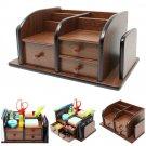 Cherry Brown Office Wooden Desk Organizer W/ 3 Drawers & Multiple Shelves/Racks