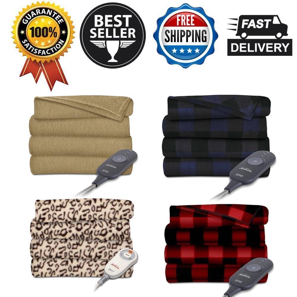 Sunbeam Extra Soft Cozy Deluxe Winter Warm Heated Electric Throw Blanket Fleece