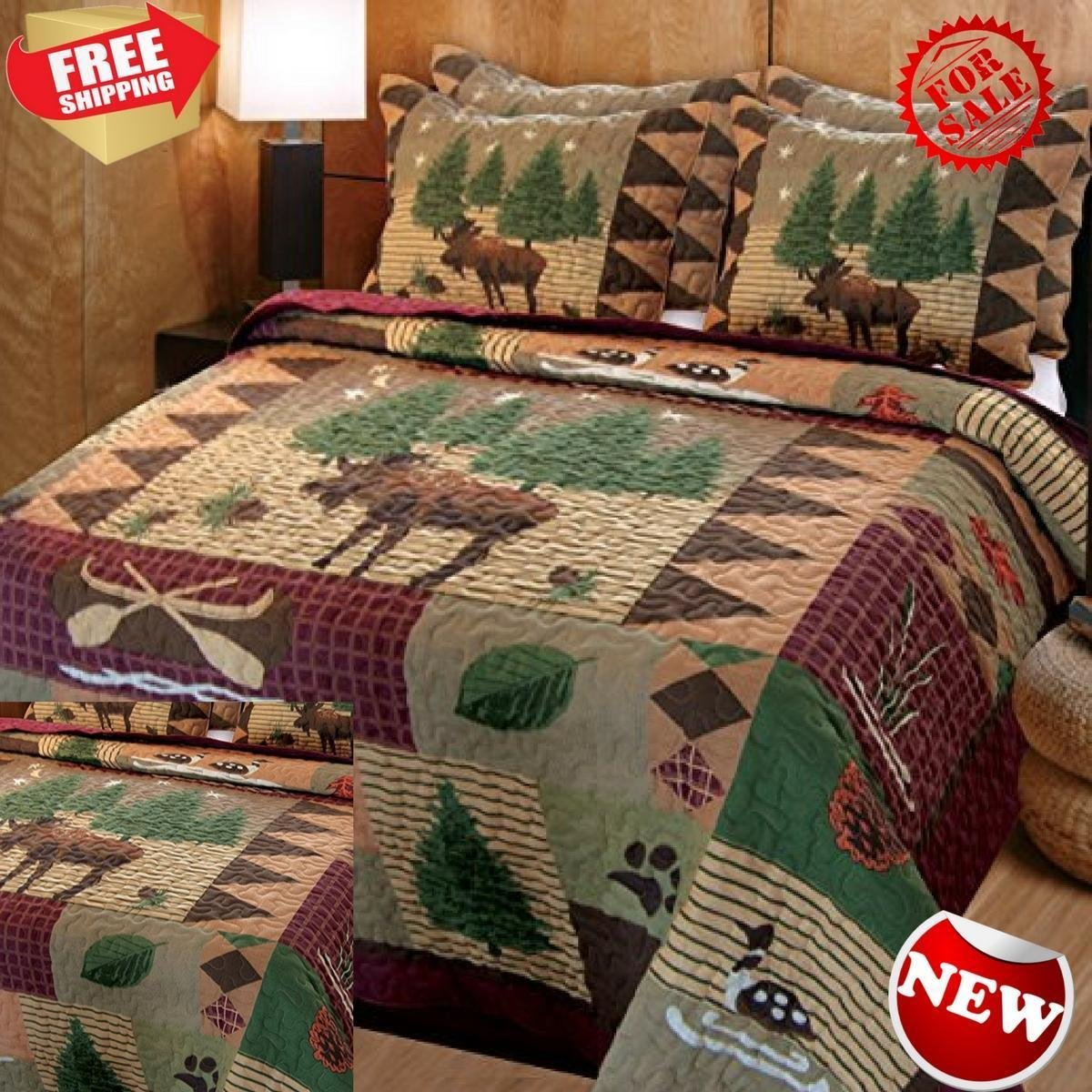 Greenland Home Moose Lodge Quilt Set, Full/Queen